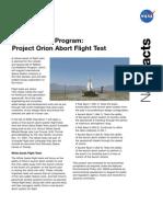 NASA Facts Constellation Program Project Orion Abort Flight Test