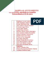 LISTA SOCIALISTA AL AYUNTAMIENTO DE REINOSA