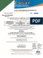 Certificado 03992 SCORPION bifilar y trifilar 2