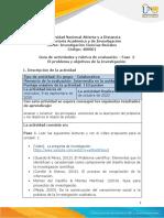 Guia de actividades y Rúbrica de evaluación - Fase 2 - El problema y objetivos de la investigación