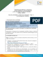 Guia de actividades y Rúbrica de evaluación -  Fase 1 - La investigación cientifica
