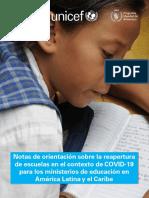 UNICEF Notas Orientacion Reapertura Escuelas Ministerios