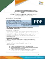 Guía de actividades y rúbrica de evaluación - Unidad 1 - Tarea 1 - Reconocimiento de la temática del curso
