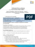 Guía de actividades y rúbrica de evaluación  - Unidad 1 - Tarea 2 - Comprensión e interpretación de los agregados y variables económicas