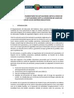 Protocolo complementario de actuaciones ante el inicio de curso 2020-2021 y actuaciones ante la aparición de casos de COVID-19 en centros educativos