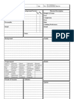 FSE Character sheet and tables