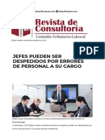 JEFES PUEDEN SER DESPEDIDOS POR ERRORES DE PERSONAL A SU CARGO