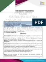Guia de actividades Tarea 1 - Reconocimiento y presaberes y rúbrica de evaluación
