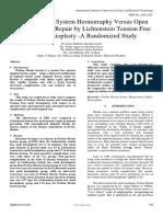 Prolene Hernia System Herniorraphy Versus Open Inguinal Hernia Repair by Lichtenstein Tension Free Mesh Hernioplasty -A Randomized Study