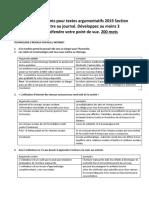 Exemples arguments pour textes argumentatifs 2019 Section B