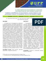 COMPOSICIÓN QUÍMICA, CARACTERÍSTICAS FISICOQUÍMICAS Y CAPACIDAD ANTIOXIDANTE DE ACEITES ESENCIALES DE CINCO HIERBAS AROMÁTICAS