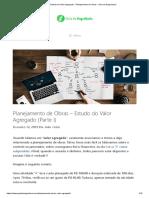Estudo do Valor Agregado - Planejamento de Obras - Guia da Engenharia