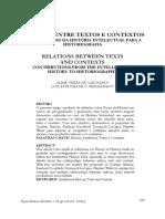 CARVALHO, Aline; FERNANDES, Luiz. Relações entre textos e contextos contribuições da História intelectual para a historiografia. (2015)