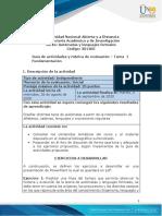 Guía de Actividades y Rúbrica de Evaluación - Tarea 1 - Fundamentación