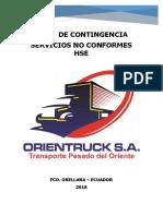 Plan De Contingencia Servicios No Conformes HSE