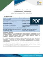 Syllabus de curso- Álgebra Lineal.
