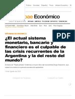 Diego Giacomini - El actual sistema monetario, bancario y financiero es el culpable de las crisis recurrentes de la Argentina y la del resto del mundo