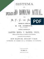 Sistema del Derecho Romano Actual - Tomo I