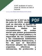 Decreto 4247 ESTADO DE ALARMA - 10 DE JULIO DE 2020