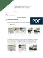 Informe de laboratorio practica 2 Tecnicas de separación de mezclas