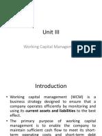 Unit III FM Working Capital Management