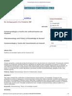Fenomenologia e teoria do conhecimento em Husserl