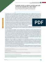 Impacto del COVID-19 en la educación de los estudiantes de medicina del Perú