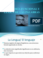 CATEGORÍA FUNCIONAL Y LÉXICA DE LAS PALABRAS