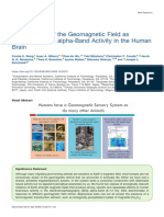 Transduction of the Geomagnetic Field as Evidenced from alpha-Band Activity in the Human Brain