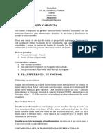 Depósitos en Garantía, Tranferencia de Fondos, Cheques de Caja y Cheques de Viajeros