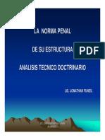 2.4 ESTRUCTURA DE LA NORMA PENAL. ANALISIS TECNICO DOCTRINARIO.-