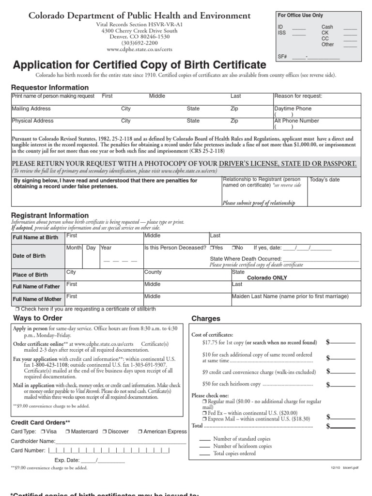Colorado Bc Birth Certificate Credit Card