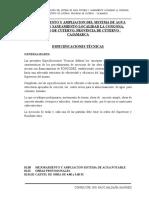 ESPECIFICACIONES TECNICAS AGUA CONGONA