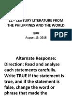 21ST CENTURY LITERATURE FROM THE PHILIPPINES quiz