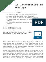 Intro to child psychology - Module 1