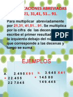MULTIPLICACIONES ABREVIADAS POR 21, 31,41, 51… 91.