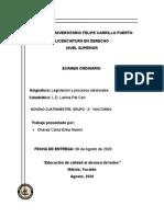 EXAMEN ORDINARIO  PROPUESTA DE LEY