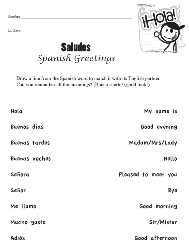 Spanish class worksheet greetings m4hsunfo