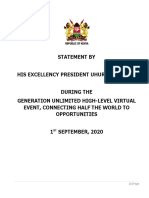 STATEMENT BY HIS EXCELLENCY PRESIDENT UHURU KENYATTA DURING THE  GENERATION UNLIMITED HIGH-LEVEL VIRTUAL EVENT, CONNECTING HALF THE WORLD TO OPPORTUNITIES. DATE