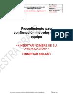Muestra Procedimiento para confirmación metrológica ISO 10012