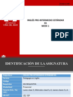 Week 1 - PART 1 - INGLÉS PRE-INTERMEDIO ESTÁNDAR  B1