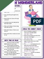 alice in wonderland esl printable reading comprehension questions worksheet for kids
