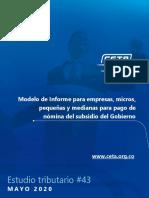 Estudio Tributario 43 - Modelo de Informe para empresas, micros, pequeñas y medianas para pago de nómina del subsidio del Gobierno