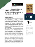 Au sujet des adaptations et des transcriptions d'œuvres pour instruments solos de J. S. Bach