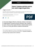 Escalação do Vasco_ Catatau estreia contra Santos, e Ramon usará zaga de garotos; veja o time _ vasco _ ge