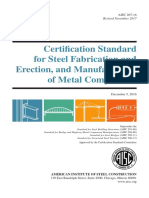 AISC 207-16, Certification Standard for Steel Fabrication and Erection, and Manufacturing of Metal Components