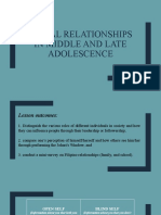 Social Relationships in Middle and Late Adolescence