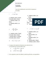 Elegir la opción que da la clasificación correcta de las siguientes ecuaciones diferenciales