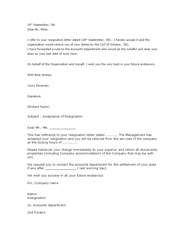 acceptance of resignation letter format
