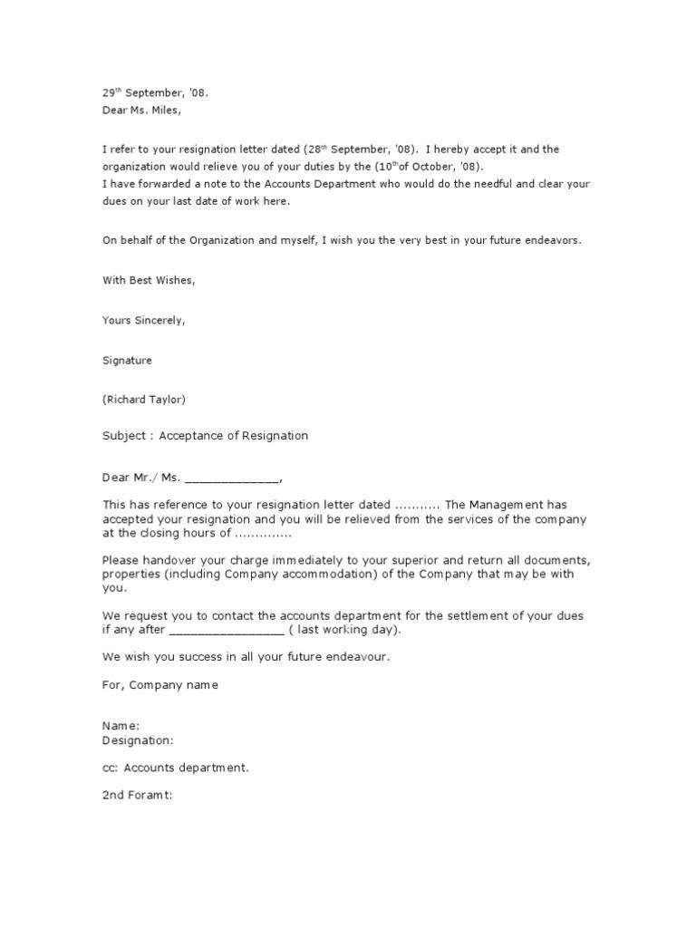 23.Resignation Acceptance Letter   Employment   Business